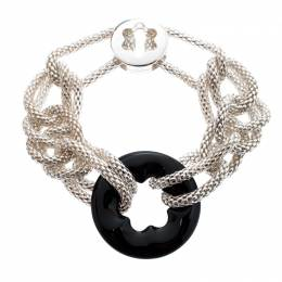 Montblanc Star Collection Onyx & Silver Chain Link Bracelet 193127