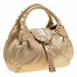 Fendi Gold Holographic Textured Leather Spy Bag 193288