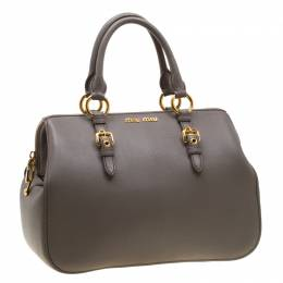Miu Miu Grey Leather Madras Bowling Bag 195050
