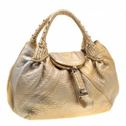 Fendi Gold Holographic Textured Leather Spy Bag 195794