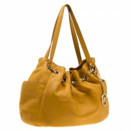 MICHAEL Michael Kors Yellow Leather Drawstring Shoulder Bag 195702