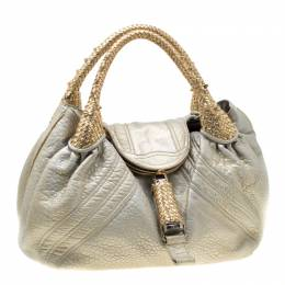 Fendi Gold Holographic Textured Leather Spy Bag 195975