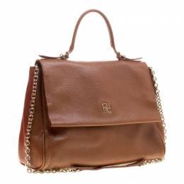 Carolina Herrera Brown Leather Minueto Flap Bag 198063
