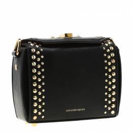Alexander McQueen Black Leather Mini Studded Box Shoulder Bag 198128