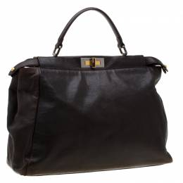 Fendi Dark Brown Leather Large Peekaboo Top Handle Bag 197234