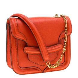Alexander McQueen Orange Leather Mini Heroine Chain Crossbody Bag 205948