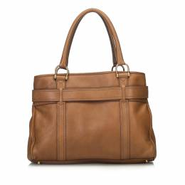 Burberry Brown Leather Medium Buckle Tote Bag 186447
