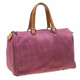 Carolina Herrera Light Purple Monogram Leather Andy Boston Bag 206493