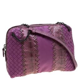 Bottega Veneta Purple Intrecciato Leather and Snakeskin Ayers Crossbody Bag 206913