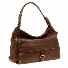 Carolina Herrera Tan Monogram Leather Shoulder Bag 206475