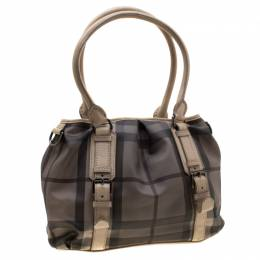 Burberry Beige PVC and Leather New Check Lowry Tote Bag 207650