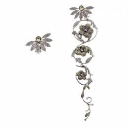 Burberry Half Daisy Crystal Silver Tone Clip-on Asymmetric Stud Drop Earrings 209716