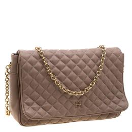 Carolina Herrera Beige Quilted Leather Flap Chain Shoulder Bag 208419