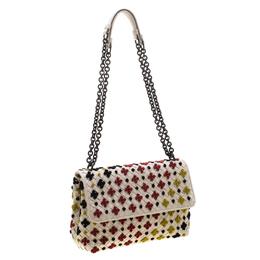Bottega Veneta Off White Multicolor Embroidered Intrecciato Leather Olimpia Shoulder Bag 209617