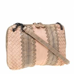 Bottega Veneta Beige/Peach Intrecciato Leather and Snakeskin Ayers Crossbody Bag 211761