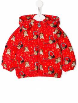 Moschino Kids дутая куртка с принтом Teddy Headphones MZS015L3B19