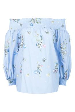 Голубая блуза с вышивкой Blugirl 1916144395