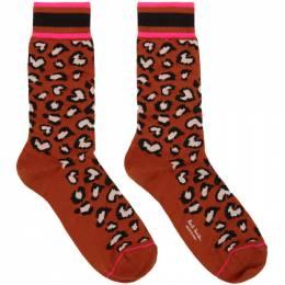 Paul Smith Orange Neon Leopard Socks 192260M22004801GB