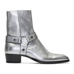 Saint Laurent Silver Wyatt Harness Boots 57936506S00