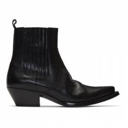 Saint Laurent Black Kangaroo-Look Lukas Chelsea Boots 57968500E00