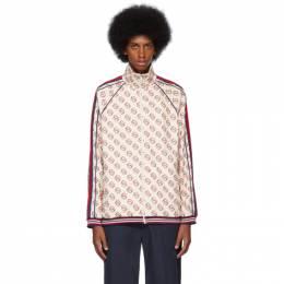 Gucci Off-White Interlocking G Print Zip-Up Sweater 192451M20200805GB