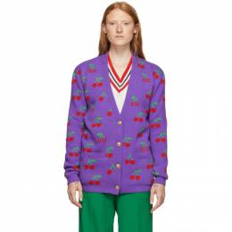 Gucci Purple Jacquard GG Cherry Cardigan 579932XKAWB