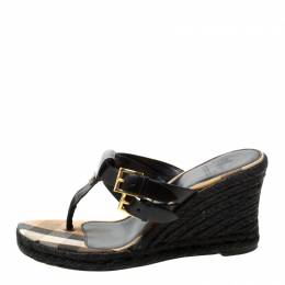 Burberry Black Leather And Novacheck Canvas Wedge Espadrille Sandals Size 37.5 211950