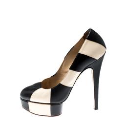 Charlotte Olympia Monochrome Leather Striped Priscilla Platform Pumps Size 38 212783