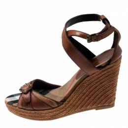 Burberry Brown Leather And Canvas Espadrille Ankle Wrap Wedge Platform Sandals Size 40 212797