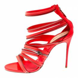 Christian Louboutin Neon Coral Patent Leather Unzip Booty Strappy Sandals Size 40