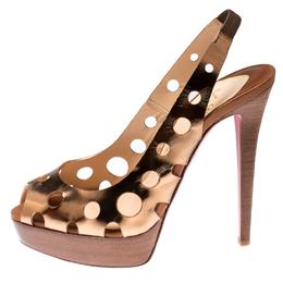 Christian Louboutin Metallic Bronze Leather Ginza Platform Slingback Sandals Size 39 212376