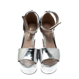 Nicholas Kirkwood Metallic Silver Leather Pearl Embellished Ankle Cuff Platform Sandals Size 36 212586
