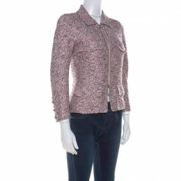Chanel Pink Silk Tweed Zip Front Jacket S 215353