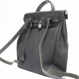 Hermes Black Canvas and Leather 2-in-1 Herbag PM Backpack 213534