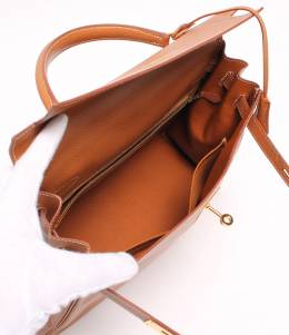 Hermes Brown Togo Leather Kelly Retourne 35 Bag 213538