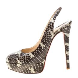 Christian Louboutin Two Tone Python Leather Bianca Slingback Platform Sandals Size 38 215764
