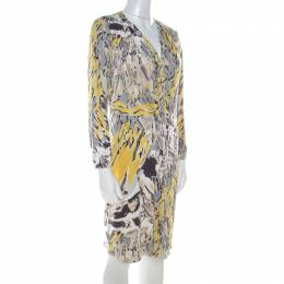Emilio Pucci Multicolor Abstract Print Stretch Jersey Pleated Plunge Neck Dress L 215459