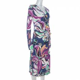 Emilio Pucci Multicolor Floral Print Stretch Jersey Faux Wrap Aruba Dress M 215378