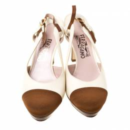 Salvatore Ferragamo White Leather And Brown Canvas Slingback Platform Sandals Size 39.5 213649