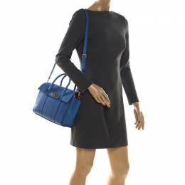 Mulberry Blue Grain Leather Small Bayswater Top Handle Bag 213393