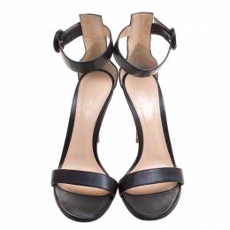 Gianvito Rossi Black Leather Portofino Ankle Strap Sandals Size 37.5 213070
