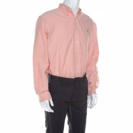 Ralph Lauren Peach Pink Cotton Logo Embroidered Classic Fit Shirt XL 213638