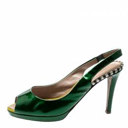 Sergio Rossi Green Patent Leather Peep Toe Slingback Sandals Size 37 212622
