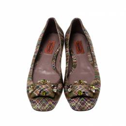 Missoni Multicolor Knit Fabric Embellished Ballet Flats Size 37 212620
