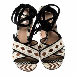 Gianvito Rossi Multicolor Embroidered Canvas And Suede Cheyenne Ankle Wrap Sandals 39.5 212406