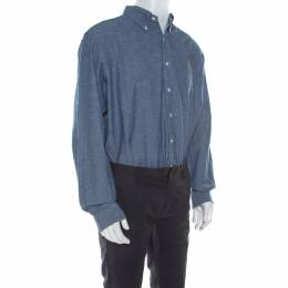 Ralph Lauren Blue Cotton Linen Blend Button Down Classic Fit Shirt XL 213611