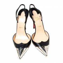 Christian Louboutin Black Leather Calamijane Slingback Sandals Size 37.5 213612