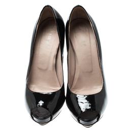 Le Silla Black Patent Leather Peep Toe Platform Pumps Size 38 212995