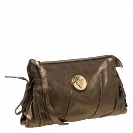 Gucci Metallic Olive Leather Large Hysteria Clutch 212846