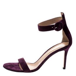 Gianvito Rossi Purple Suede Portofino Ankle Strap Sandals Size 40 209259